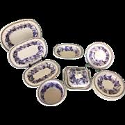 Staffordshire Dolls Dinner Tureen Set Copeland Lavender Leaf c.1845 Transferware