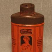 Vintage Miniature Cuticura Talcum Powder Tin Black on Orange