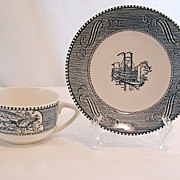 Vintage (7) Collectible Currier & Ives Cup & Saucer Sets Royal China 1940-60s~Mint