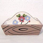 Vintage Collectible Cleminson Pottery Co Miniature Tote Tray with Hand Painted Motif of Flower