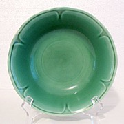 "20% Off~Vintage Collectible Mount Clemens Round Dark Green  7 ½""  Vegetable Bowl Petal W"