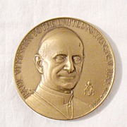 SALE Vintage Collectible Commemorative Mission to The United Nation Bronze Medallion by Pope P