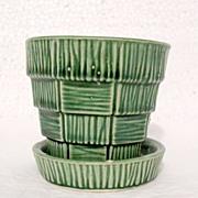 SALE Vintage Collectible McCoy Pottery Basket Weave Design on Green Flower Pot & Saucer 19