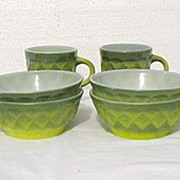 SOLD Vintage collectible two breakfast sets of Anchor Hocking Fire King green bowls and cups o