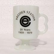 Vintage Collectible Advertising Pedestal Dresden Milk Glass Mug Commonwealth Edison Nuclear Po