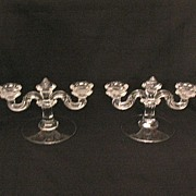 Vintage Collectible Fostoria 2-Lite Crystal Candleholders Pattern #91 1932-1958,1982 Mint