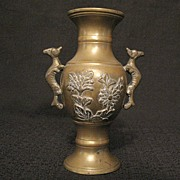 SALE Vintage Collectible Solid Brass Indian Bud Vase With Applied Animal Handles With Floral M