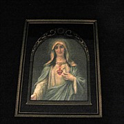 SOLD Vintage Collectible Virgin Mary Immaculate Heart Print Art Deco Reverse Painted 1930s Exc