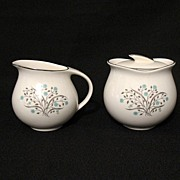 Vintage Collectible Pope-Gosser Creamer & Sugar with Lid in The Sandra 8016 Pattern 1940-50s M