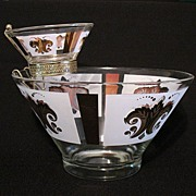 SOLD Vintage Retro Modern Collectible Anchor Hocking Retro 3-Pc. Festive Chip & Dip Set with O