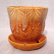 SALE Vintage Collectible Brush Flower Pot & Saucer #328-4 Drape Pattern~Orange & White Drip ..