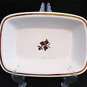 Vintage Collectible Alfred Meakin Copper Lustre Tea Leaf Rectangular Vegetable Bowl 1800s Exce