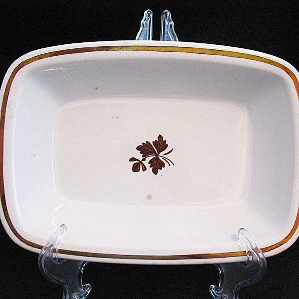 Vintage Collectible Alfred Meakin Copper Lustre Tea Leaf Rectangular Vegetable Bowl 1800s Excellent Condition