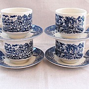Vintage Collectible Churchill England 4-Sets Cup & Saucer In Currier & Ives Blue Pattern Mint Condition
