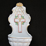 SALE Vintage Collectible Porcelain Holy Water Holder/Font Made In Germany 1920-30s Mint Condit