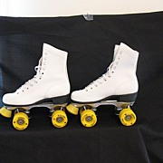 SOLD Vintage Collectible Roller Derby Flyer Skates  Full Grain Leather Shoes Jumbo Urethane Wh