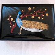 SALE Vintage Collectible Hard Plastic Jewelry Box Peacock Motif Very Good Condition