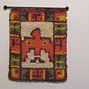 SALE Vintage Collectible Indian Water/Peyote Bird Latch Hook Rug 1960-70s Folk Art Very Good C