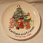 SALE Vintage Collectible Ceramic Garfield & Friends Christmas 1982 Plate Enesco 1981 Mint ...