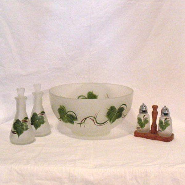 Vintage Collectible Hazel-Atlas Satin Fruit Salad Set Gay Fad Decorations 1950s Excellent Condition