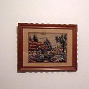 SALE Vintage Folk Art Needle Point Picture 1940-50s Excellent Condition