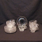 SALE Vintage Cambridge (8) Crystal Cup & Saucer Sets Caprice Pattern 1940-57 Excellent Conditi