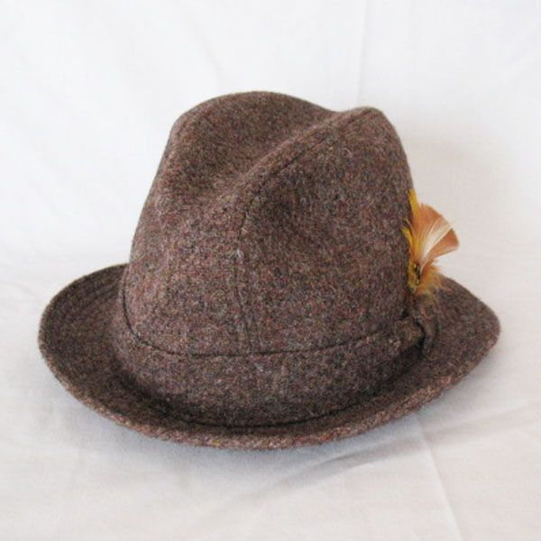 Vintage Hand Woven Harris Tweed Stetson Fedora Hat 1950-60s Excellent Condition