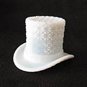 SALE Vintage Milk Glass Top Hat with Buttons & Bows Motif