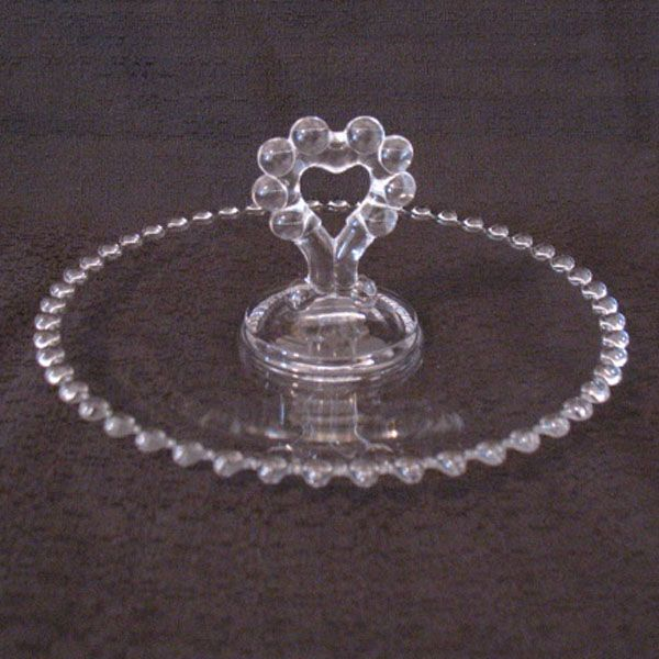 "Vintage Imperial Candlewick 8 1/2 "" Tray Heart Shaped Handle Like New Condition 1936-1984"