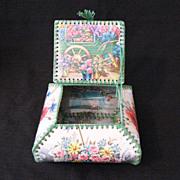 SALE Vintage Collectible Celluloid Folk Art Trinket Box Turn-of-Century Excellent Condition