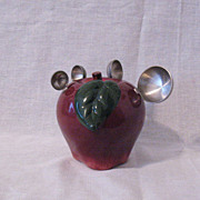 SALE Vintage Ceramic Apple Shaped Measuring Spoon Holder With 4 Stainless Steel Measuring ...