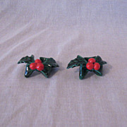 SOLD 10% OFF Vintage Pair Of Lefton Green Holly Candle Climbers Excellent Vintage Condition 19