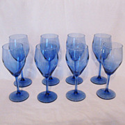 Vintage Collectible (8) Transparent Blue 6 Oz. Wine Glasses Like New Condition