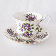 SOLD Vintage Bone China Royal Albert Springtime Series Violets Cup & Saucer 1960s Like New Con