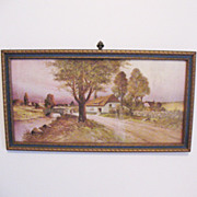 SALE Vintage  Z.T. Hadland Print 1911 Cottage Near Road & Stream Excellent Condition.