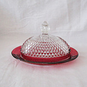 SALE Vintage Westmoreland Cheese Dish Ruby Flashing English Hobnail Pattern 1930-40s Excellent
