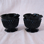 Vintage Tiara Cameo Black Single Lite Candle Holders 1970-80s Diamond Pattern Like New Conditi