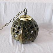 Vintage Mid-Century Ceramic Green Glazed Hanging Light 1960s Excellent Condition