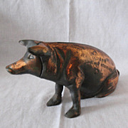 SALE Rare Vintage Chicago Stockyard Souvenir Cast Iron Piggy Bank 1940-50s Very Good Vintage C