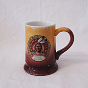 Vintage  Advertising Mug Round Oak Stoves Indian Chief Doe-Wah-Jack Motif 1907 Very Good Condition
