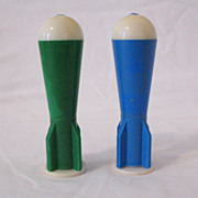 SOLD Vintage Collectible Plastic Rocket Ship Shaped S & P Shakers 1950s Very Good Condition