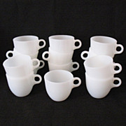 SALE 30% OFF Vintage Fire-King (8) St. Denis Cups 1946-1958 Like New Condition