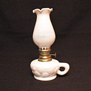 SOLD Vintage Miniature Milk Glass Kerosene Lamp Embossed Fruit Motif 1950-60s Made in Hong Kon