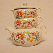 SALE Vintage Old Foley Stack Tea Set Floral Fantasy Pattern James Kent Ltd Staffordshire Engla