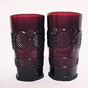SALE Vintage Avon Cape Cod Ruby Glassware (2) Tumblers 1990 Excellent Condition
