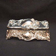 SOLD Vintage Silver Plated Vanity/Jewelry Box Roses in Relief 1960-70s Excellent Condition