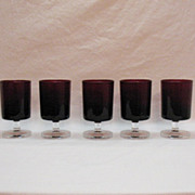 SALE Vintage Arc International Arcoroc (5) 4 Oz Tempered Ruby Red Stemware Glasses 1960-70s Ex
