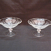 SALE Vintage Heisey Orchid Etched Pattern (2) Compotes on Waverly Blanks 1940-57 Excellent ...