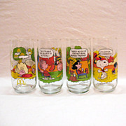 Vintage McDonalds Glass Series (4) Snoopy Camp Collection Glasses 1968 Very Good Condition