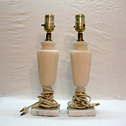 SALE Vintage Alabaster Table Lamps 1950-60s Made in Italy Lamps Work